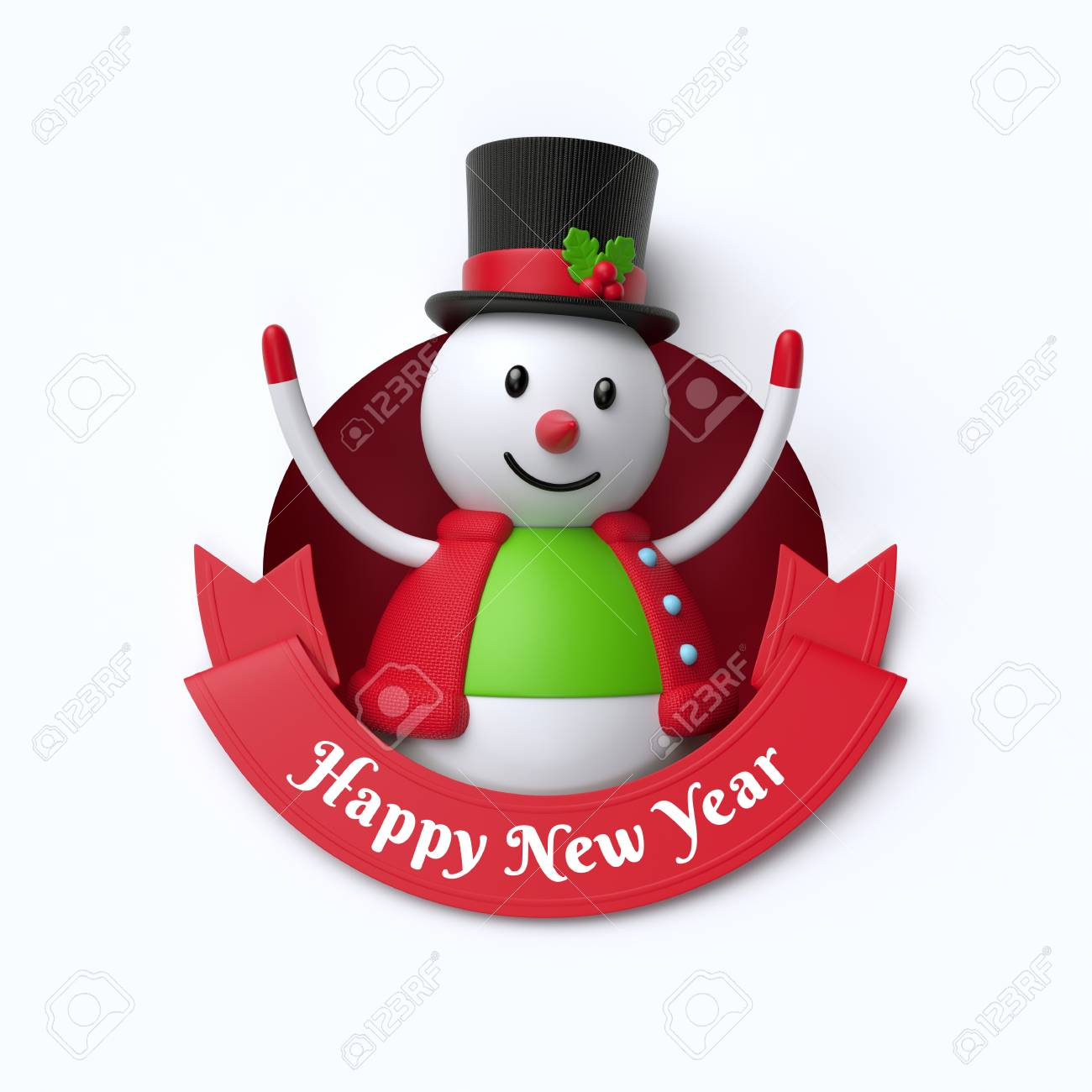 holiday clip art isolated on white background 3d render funny snowman toy inside round hole happy new year red