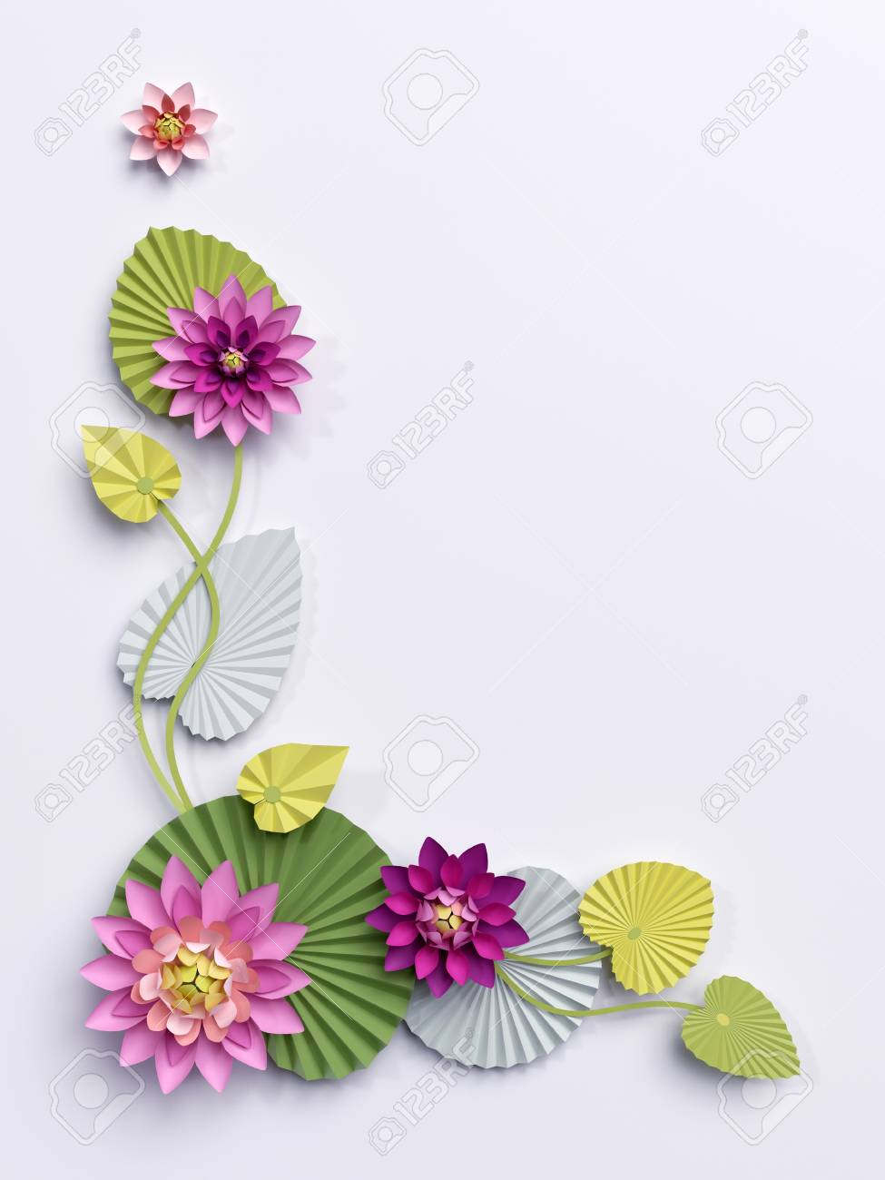 3d render paper lotus flowers corner wall decoration pink stock 3d render paper lotus flowers corner wall decoration pink water lily green leaves mightylinksfo Gallery