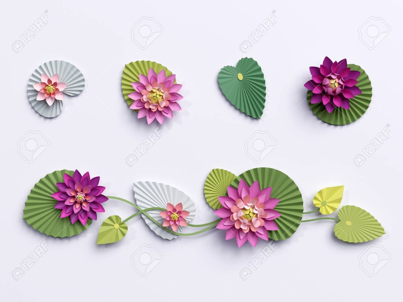 3d Render Paper Lotus Flowers Wall Decoration Border Pink
