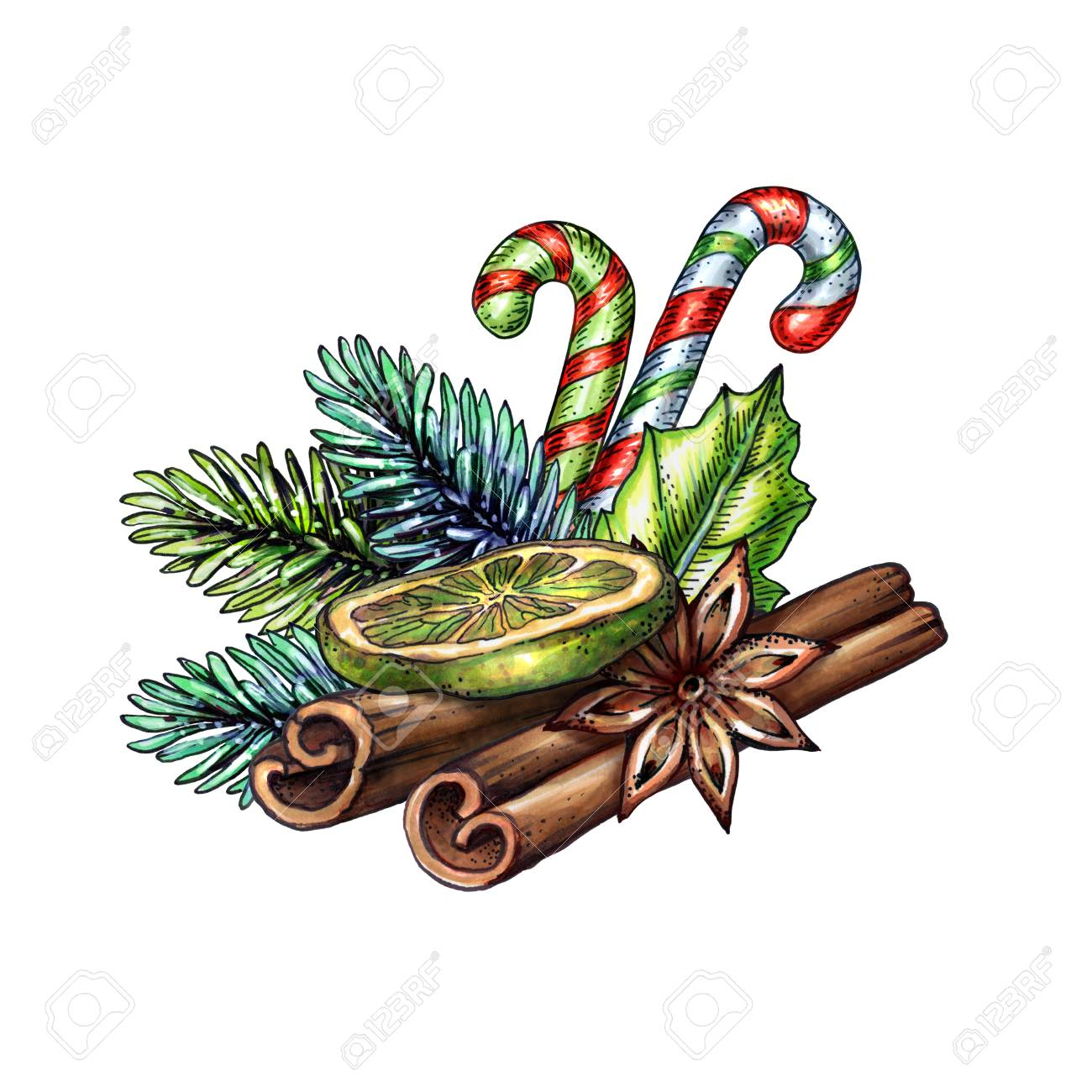 christmas illustration cinnamon sticks dried lime candy cane rh 123rf com candy cane clip art clipped candy cane clip art border