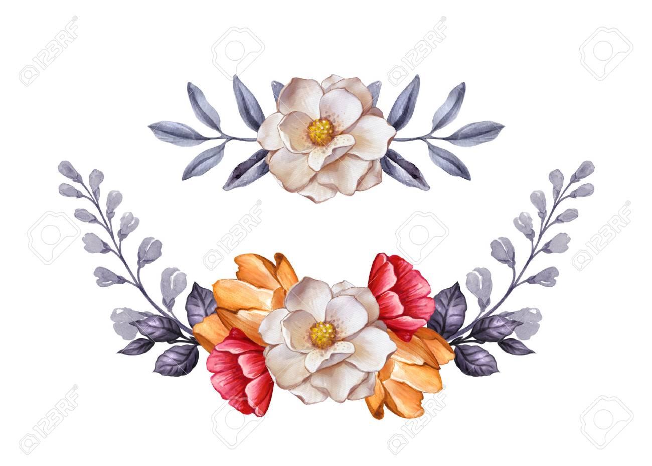 水彩画ボタニカル イラスト、秋の花、乾燥葉、花の花輪の装飾、デザイン
