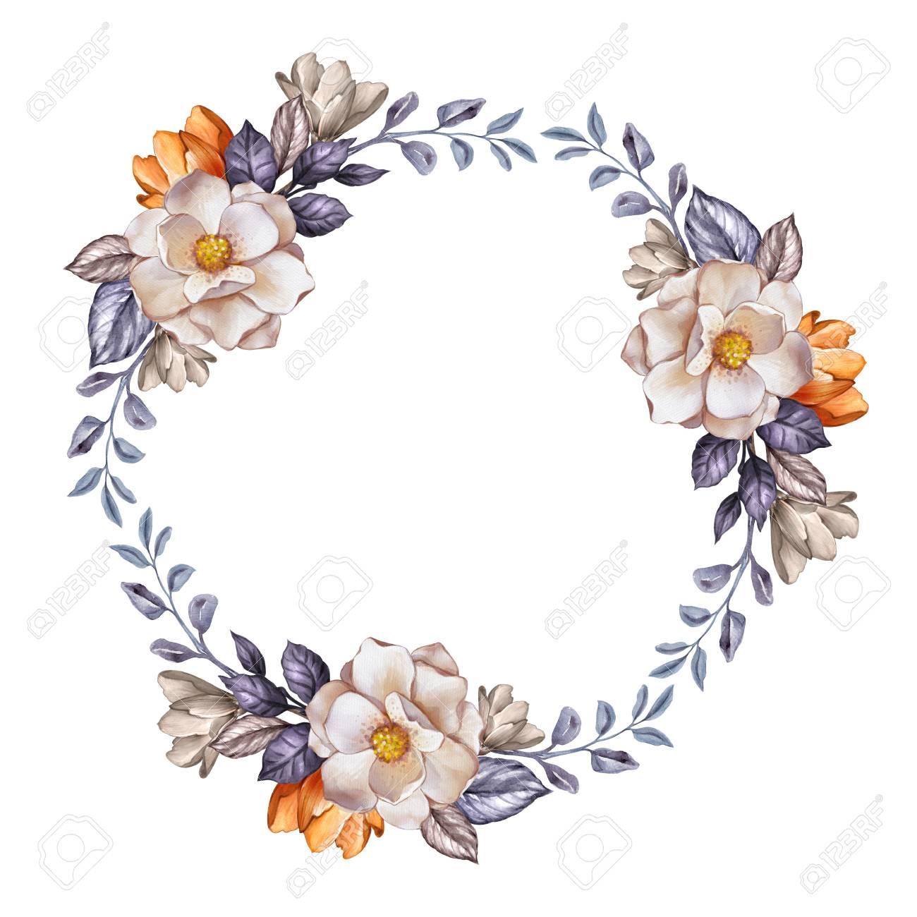 水彩画ボタニカル イラスト結婚式の花の花輪秋の花乾燥葉