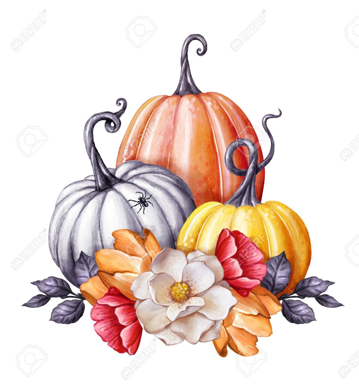 Aquarell Illustration Blumenkürbisse Halloween Clipart Herbst