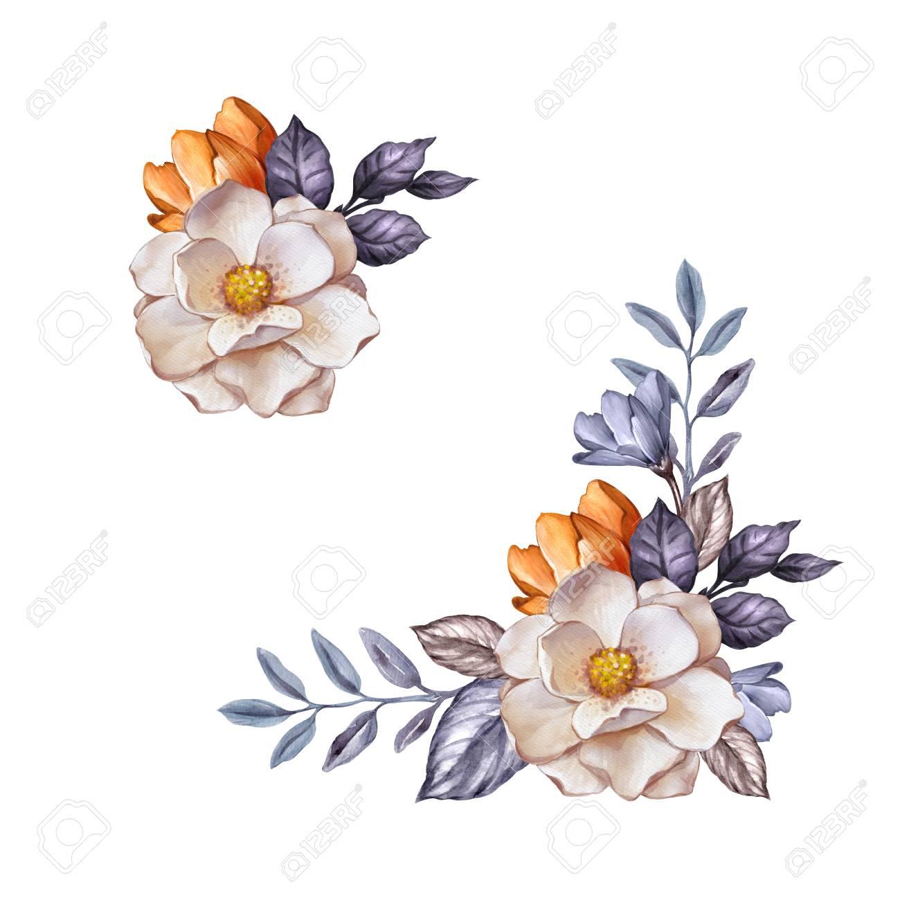 水彩画ボタニカル イラスト、秋の花、乾燥葉、コーナー装飾、花の