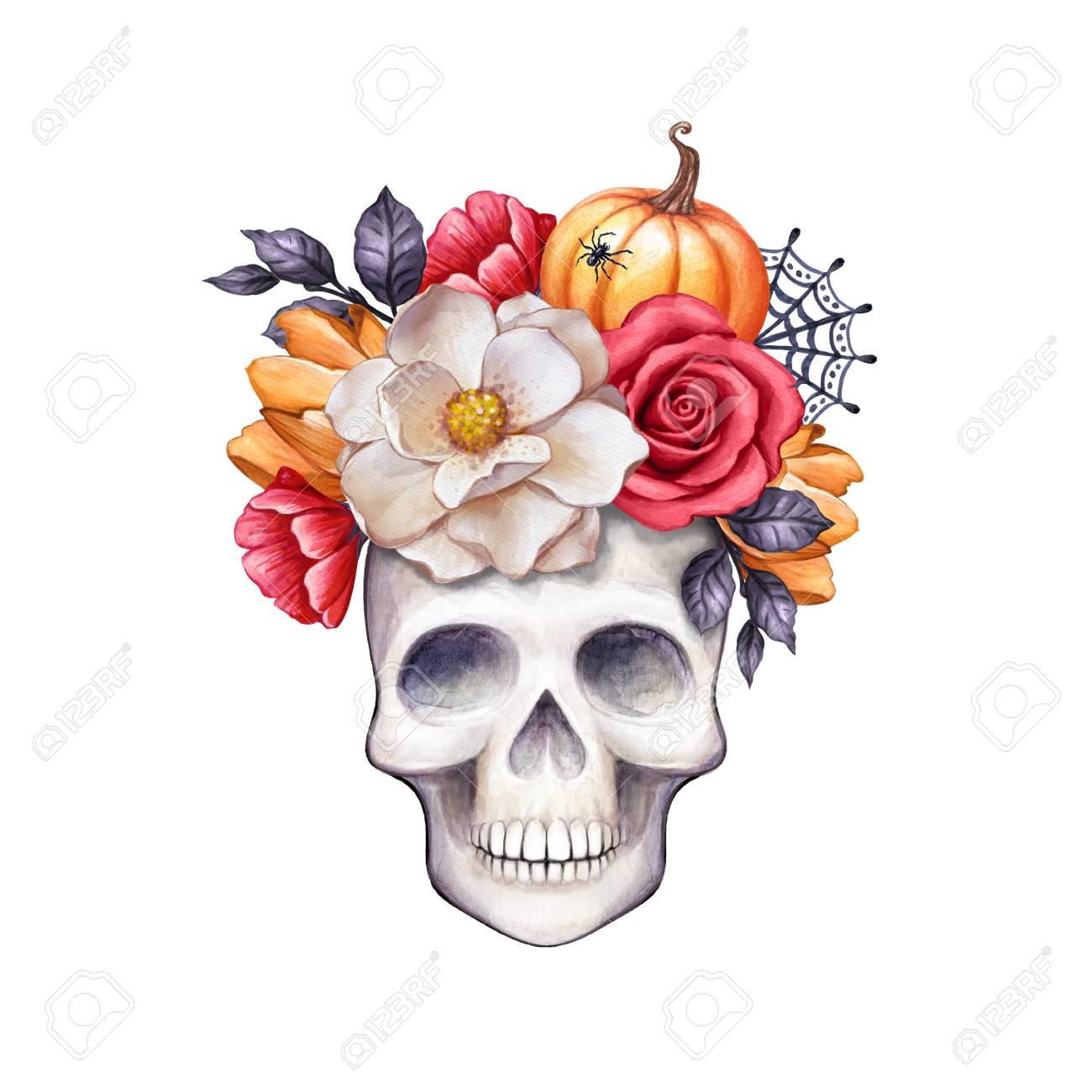 水彩花柄スカル、ハロウィーンのイラスト、秋の花、秋、カボチャ、白い