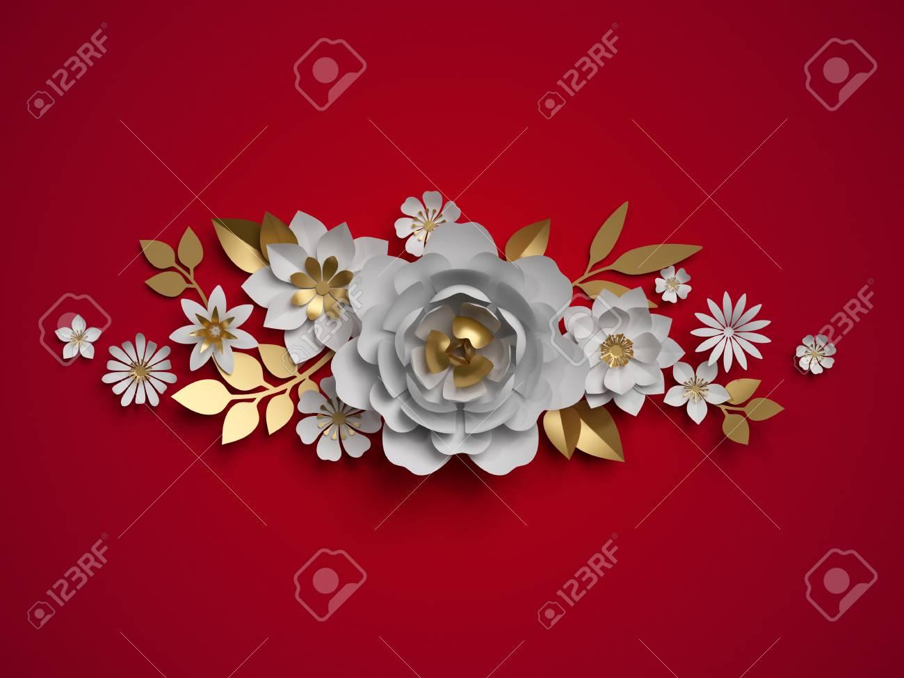 3d Render White Gold Paper Flowers Floral Border Botanical