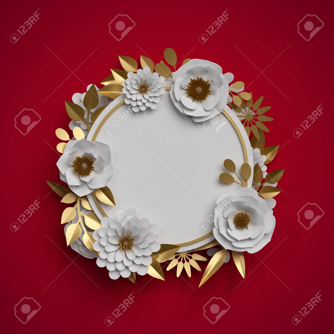 3d Render Paper Flowers Round Frame Red White Gold Botanical