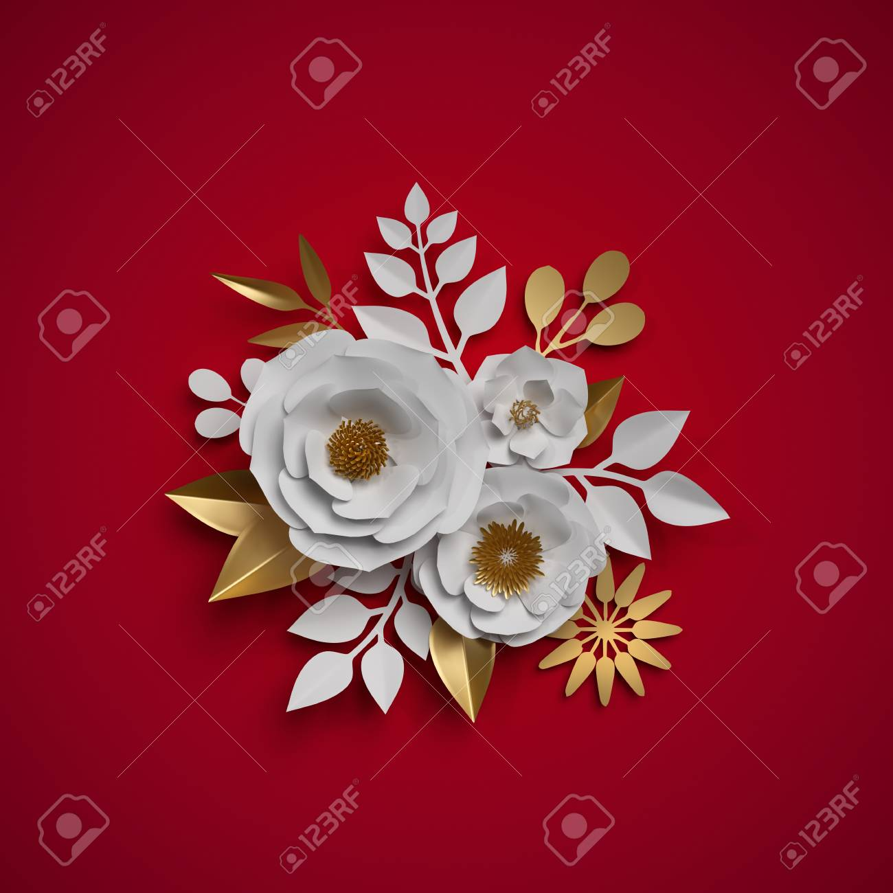 3d Render Floral Bouquet Paper Flowers Red White Gold Botanical