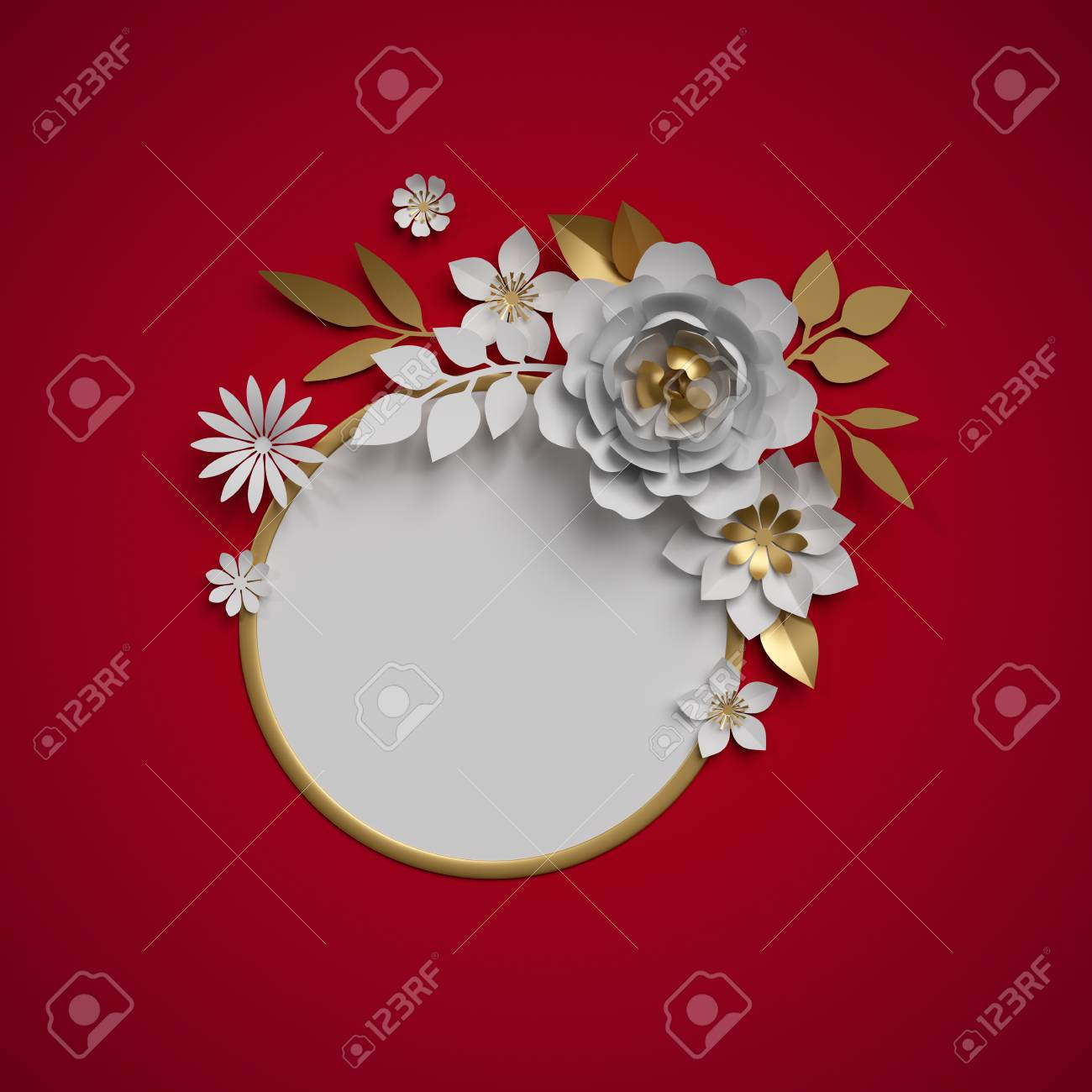 3d Render White Gold Paper Flowers Botanical Decor Round Frame
