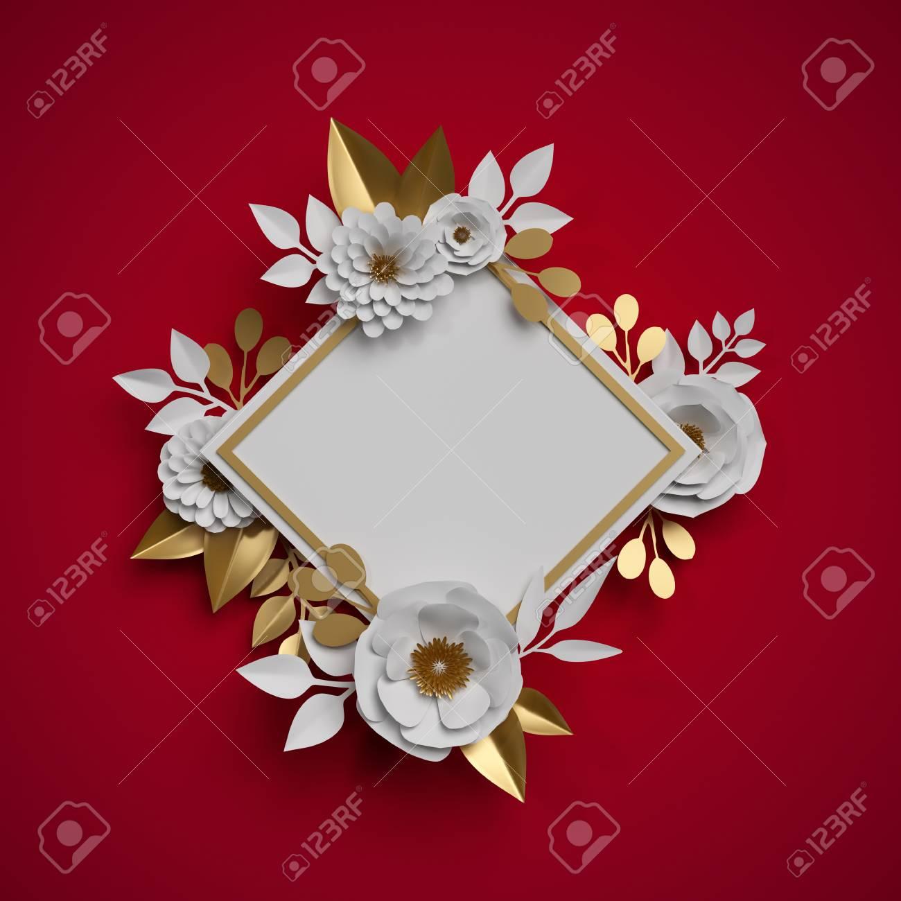 3d Render White Gold Paper Flowers Botanical Frame Red Background