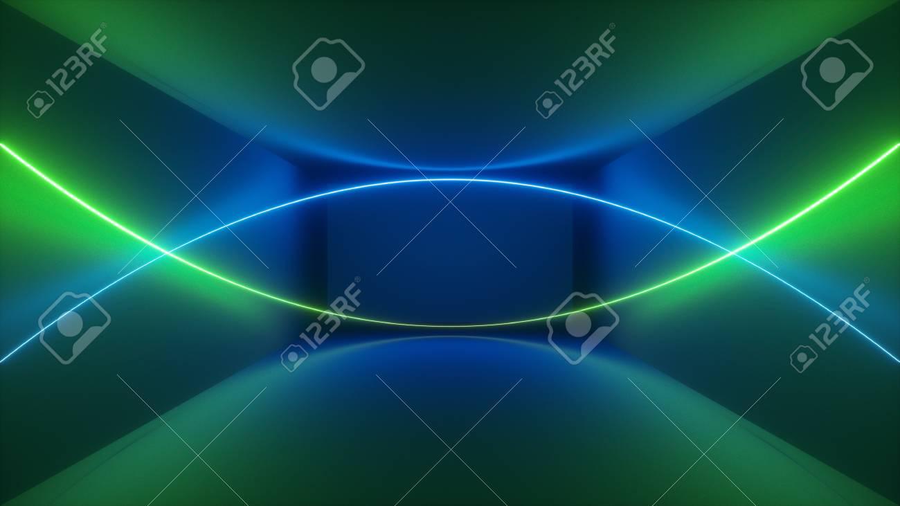 3d Render, Laser Show, Night Club Interior Lights, Green Blue Abstract  Fluorescent Background