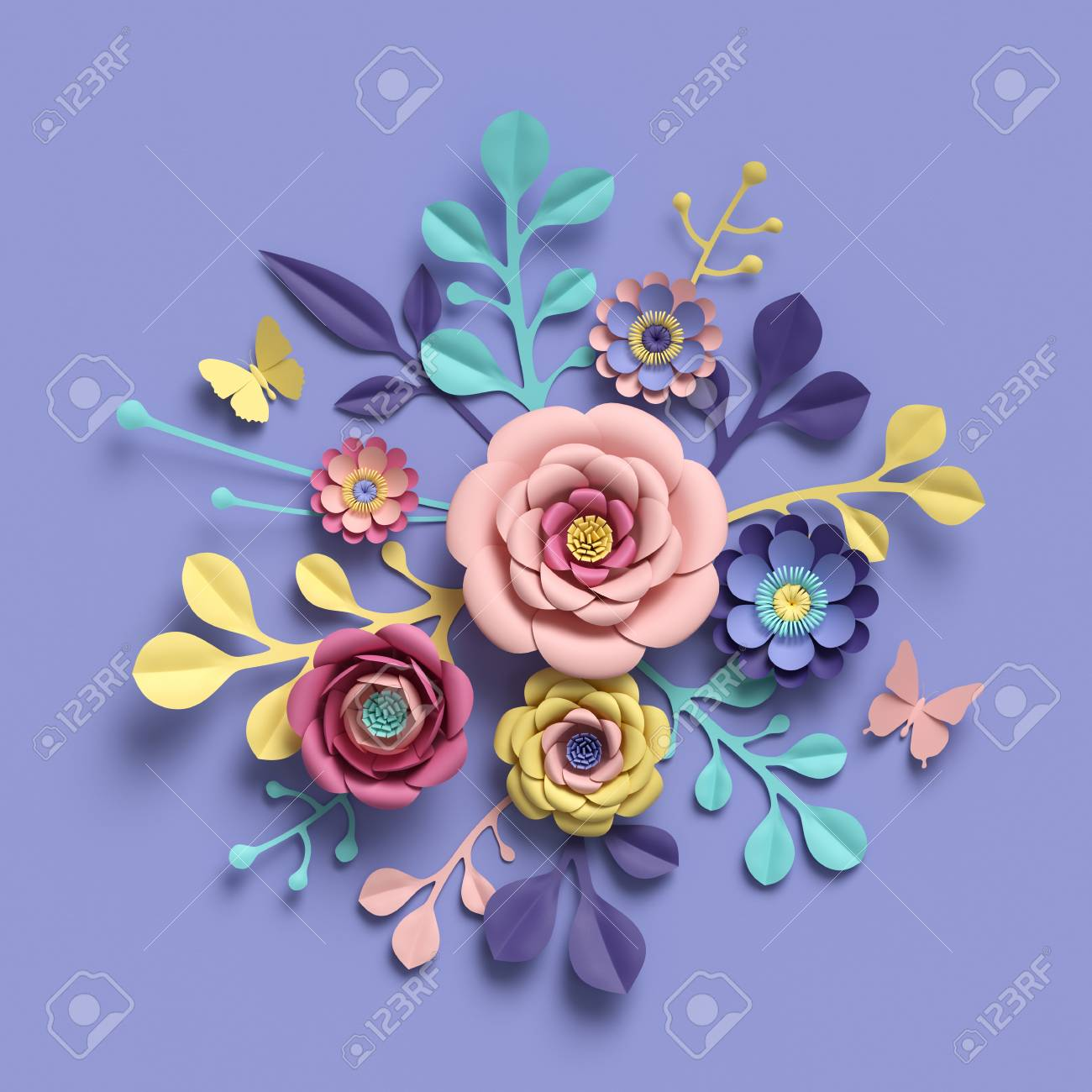 3d rendering abstract floral background paper flowers botanical 3d rendering abstract floral background paper flowers botanical pattern bridal round bouquet izmirmasajfo