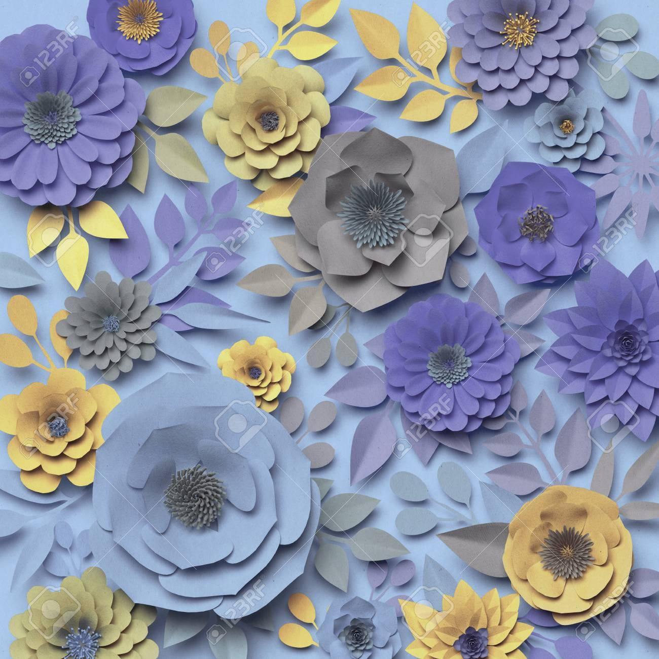 3d Render Digital Illustration Paper Rose Flowers Floral Wall