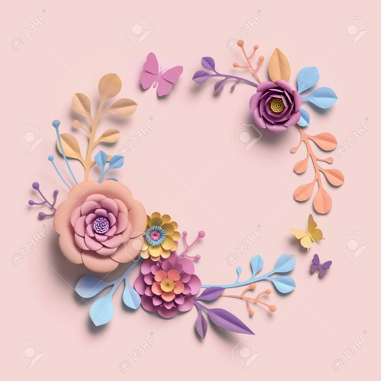 3d Rendering Paper Flowers Pastel Color Palette Botanical Stock