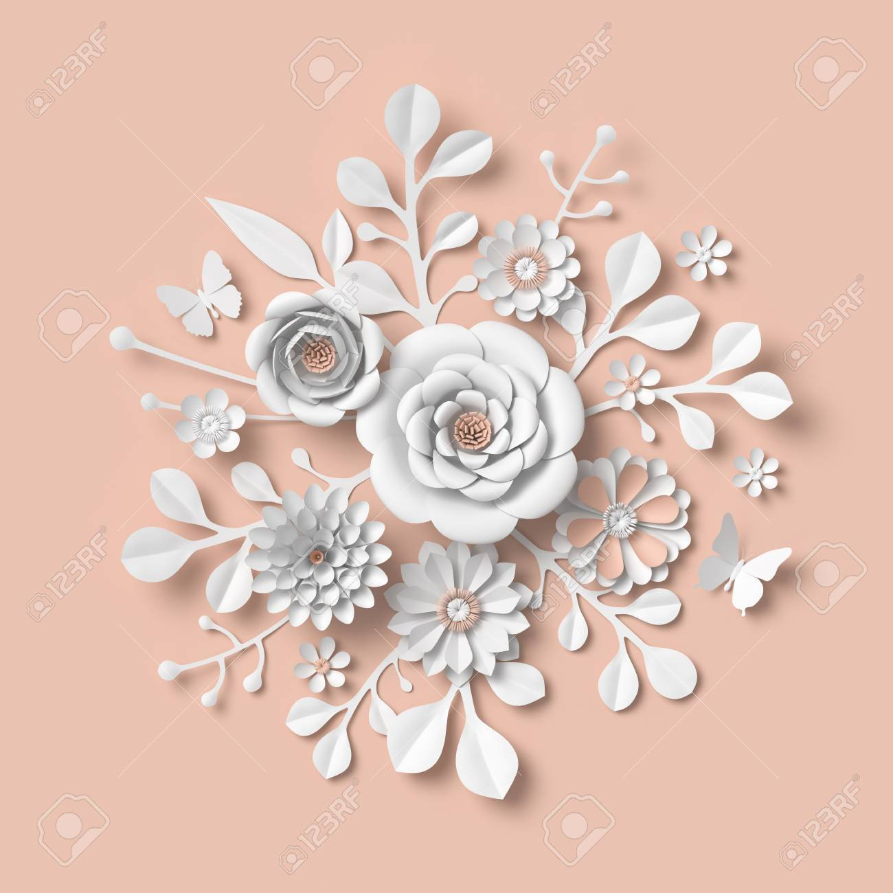 3d rendering white paper flowers isolated on pastel peach background stock photo picture and royalty free image image 98834246 3d rendering white paper flowers isolated on pastel peach background