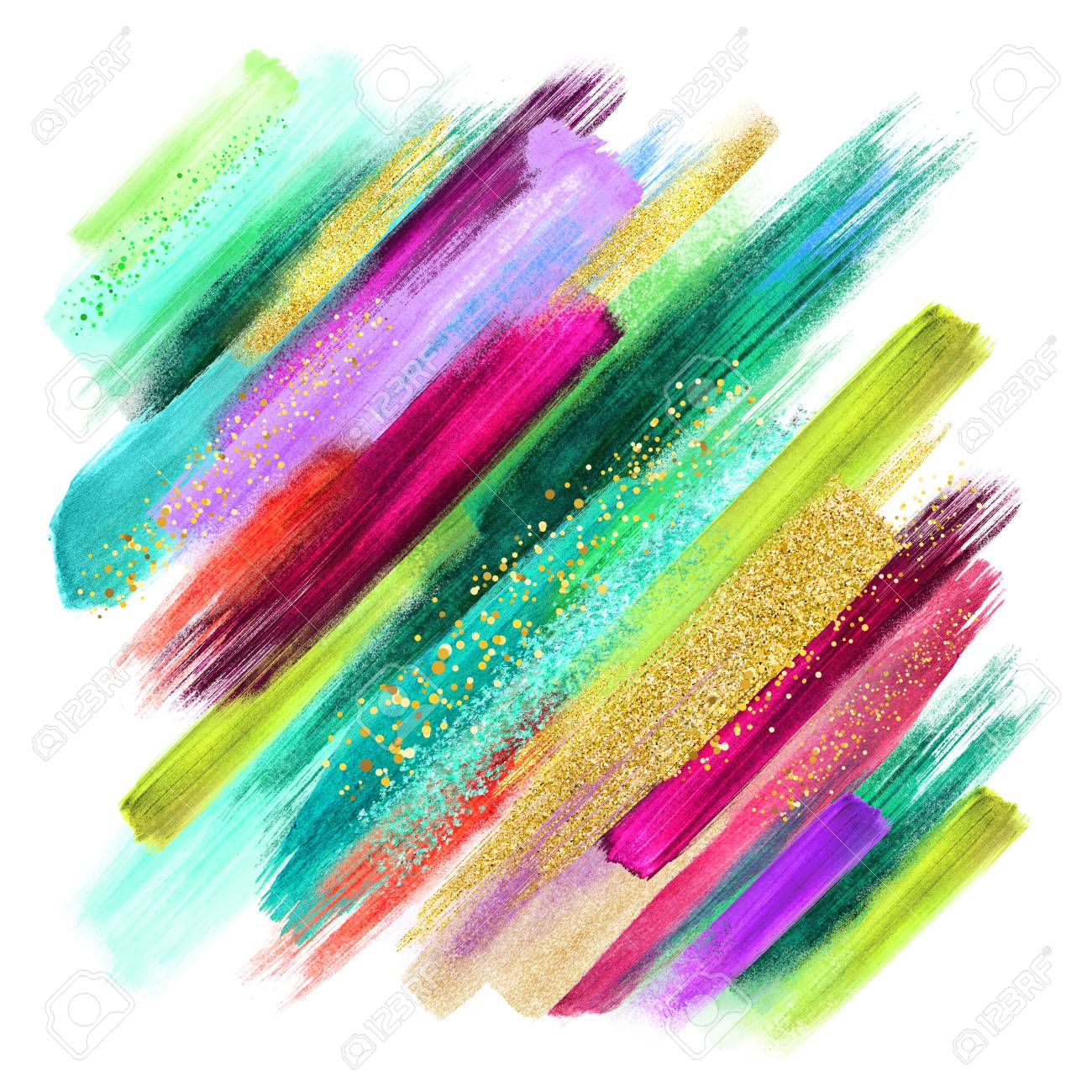Emerald Green Fuchsia Gold Abstract Watercolor Brush Strokes Isolated On White Creative Illustration Artistic Color Palette Boho