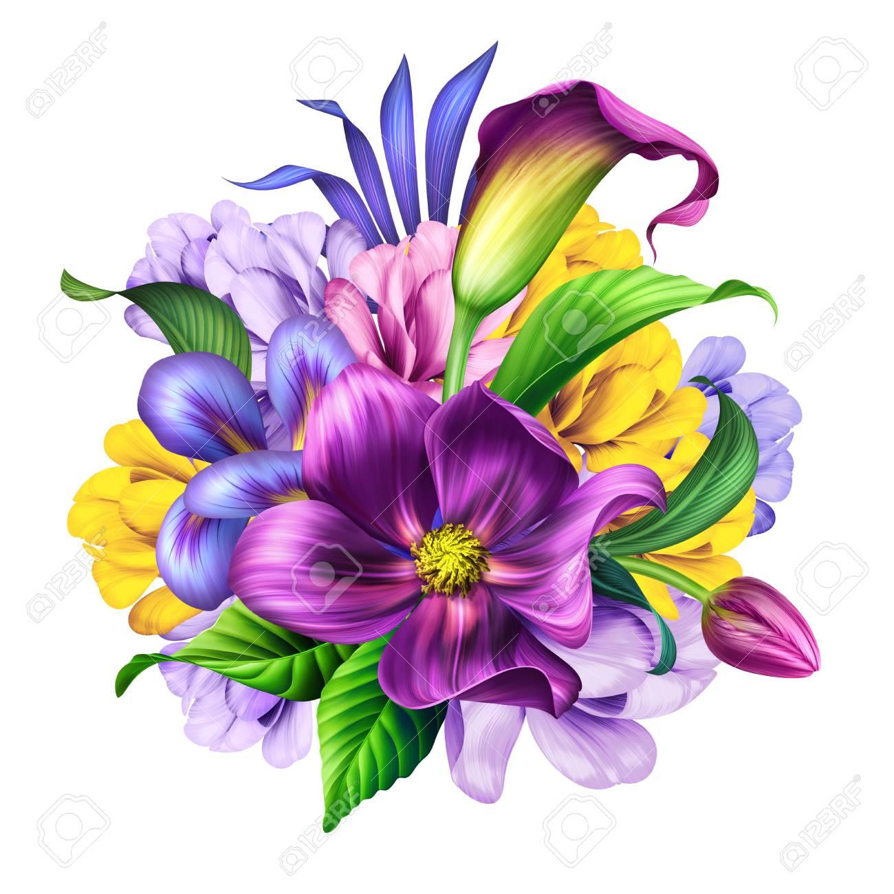 Illustration Botanique Bouquet De Belles Fleurs Arrangement Floral Clipart Isole Sur Fond Blanc Banque D Images Et Photos Libres De Droits Image 98835395