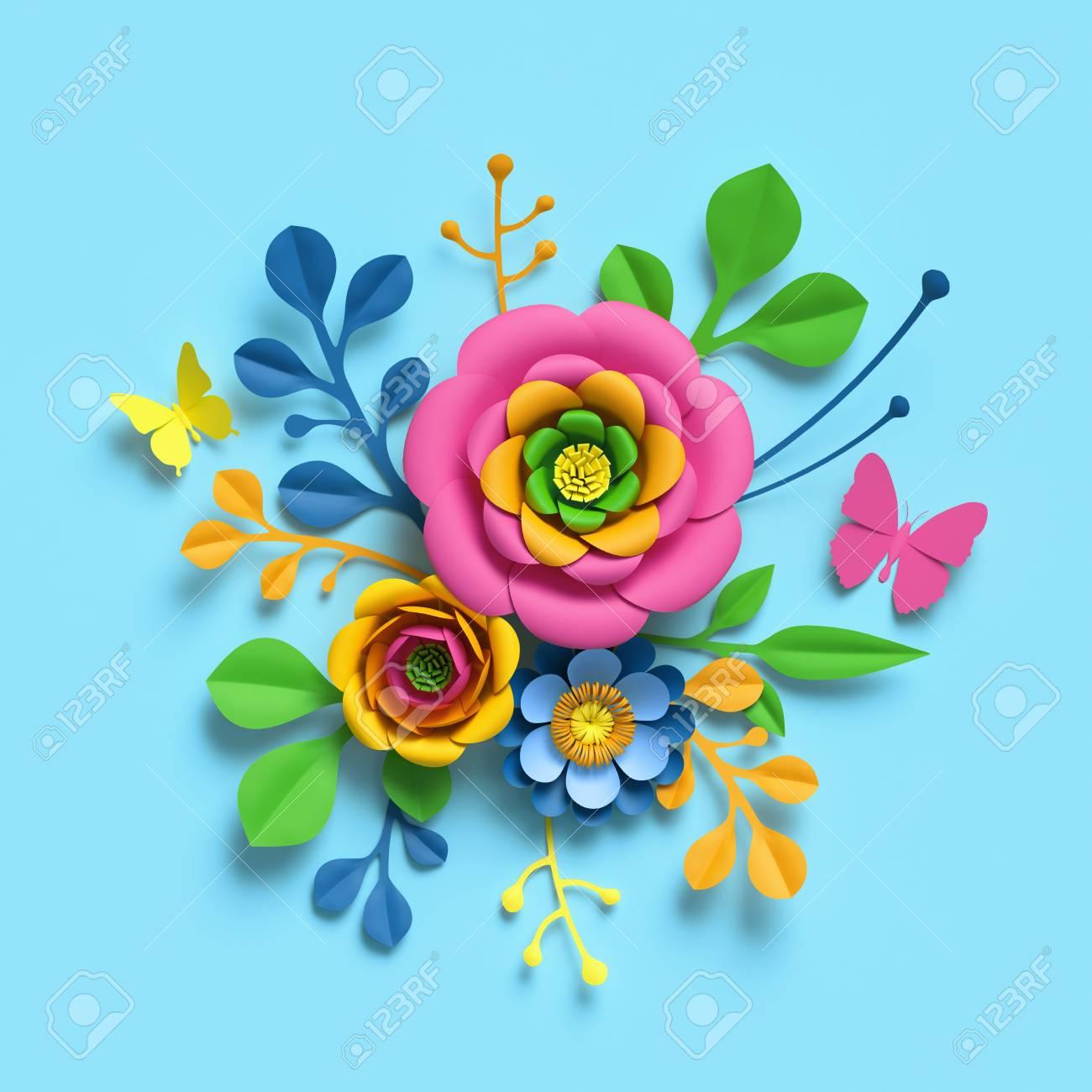 3d Render Craft Paper Flowers Round Floral Bouquet Botanical