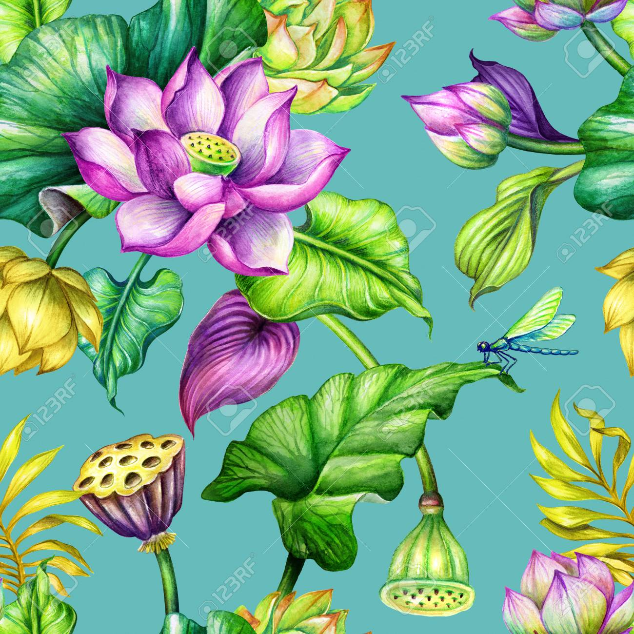 Seamless Botanical Pattern Watercolor Repeating Floral Background