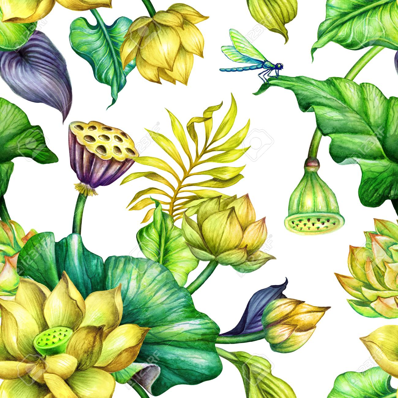 Watercolor Floral Background Seamless Botanical Pattern Tropical