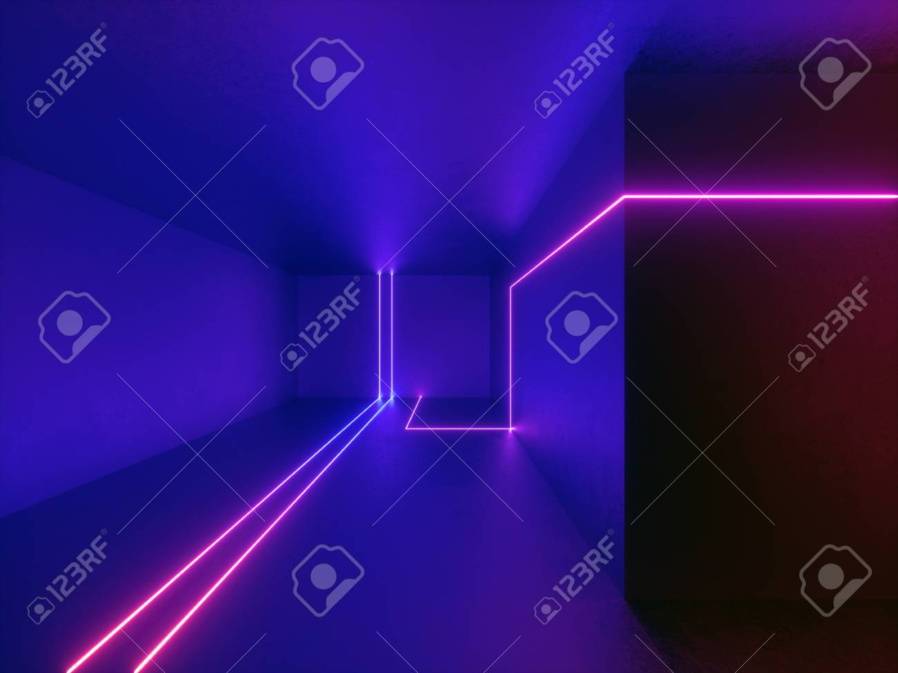 3d render, neon lights, room, indoor, virtual reality, glowing