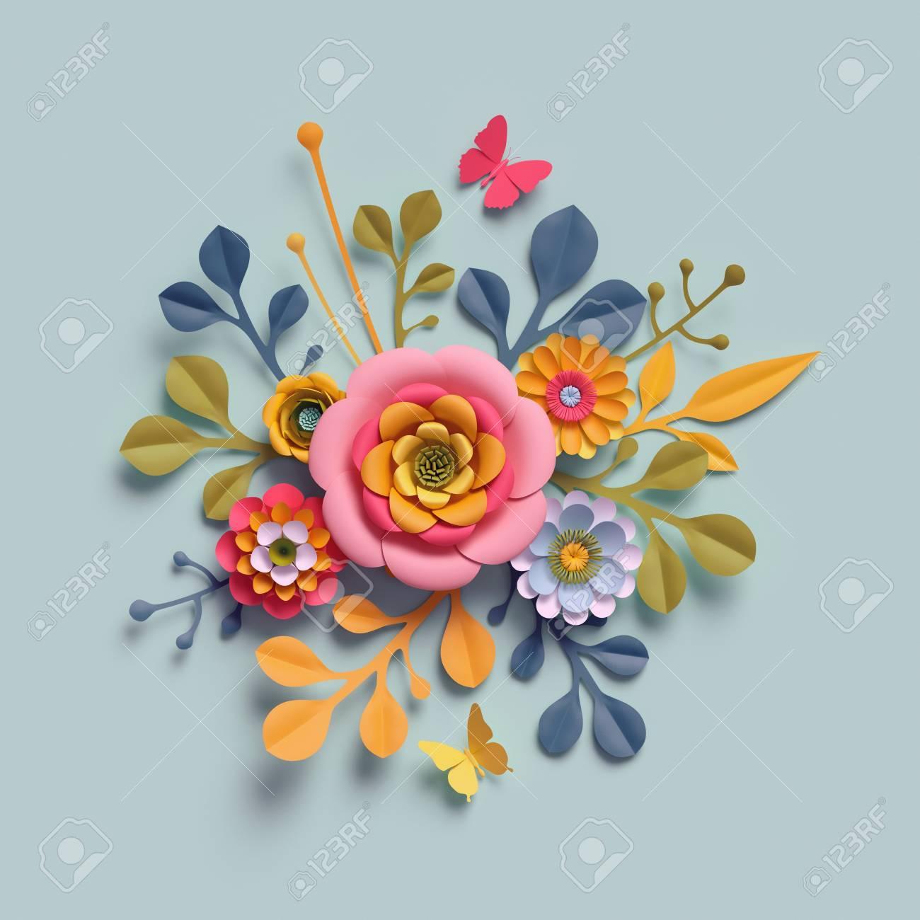 3d Render Craft Paper Flowers Autumn Botanical Arrangement