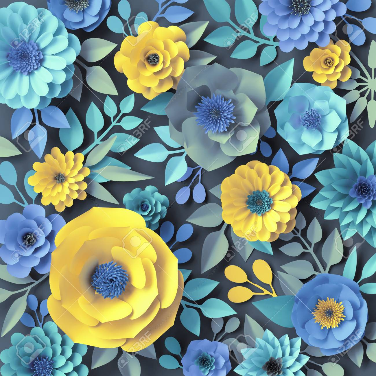 3d Render Blue Yellow Paper Flowers Botanical Background Floral