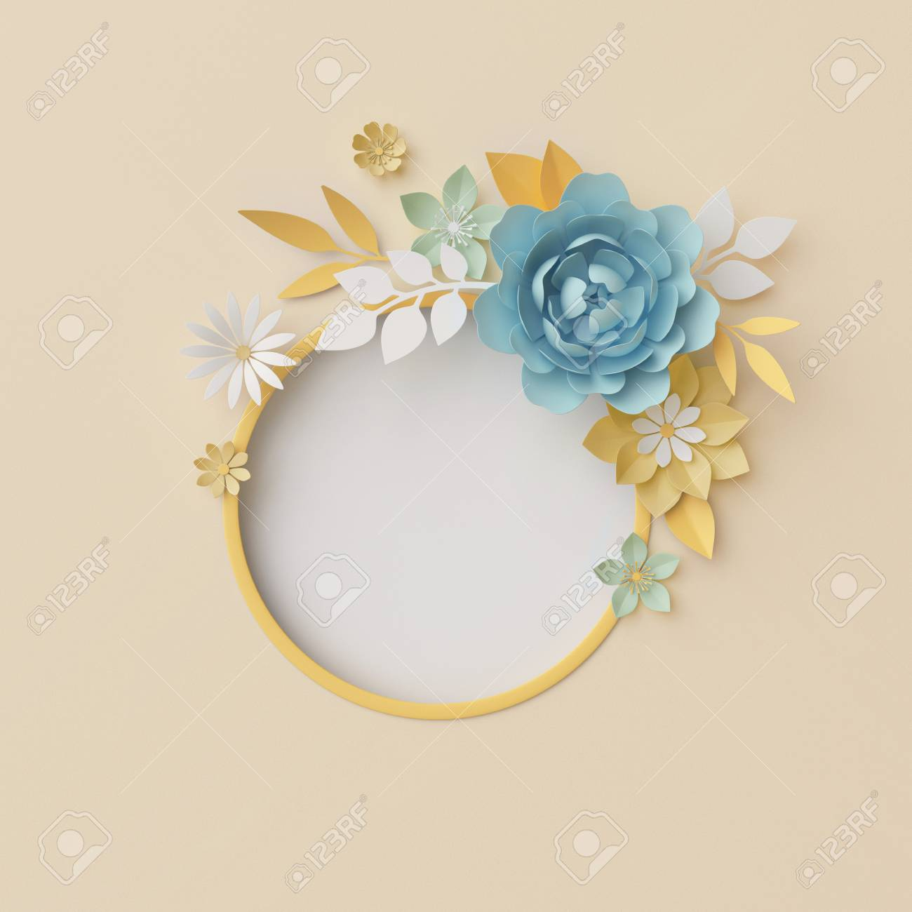 3d Render Botanical Background Pastel Paper Craft Flowers Stock
