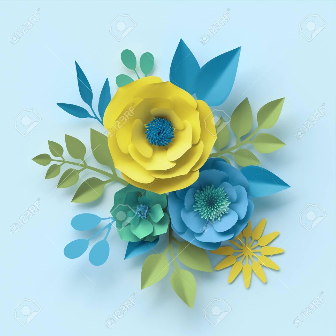 3d Render Paper Flowers Botanical Wallpaper Floral Bouquet
