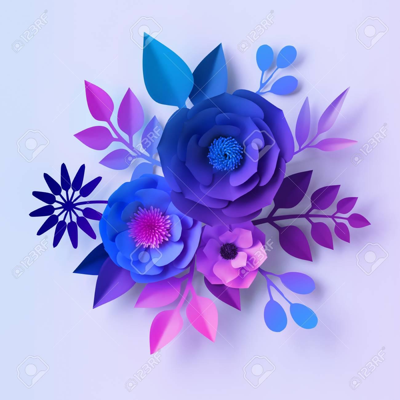 3d Render Blue Violet Neon Paper Flowers Floral Bouquet Isolated