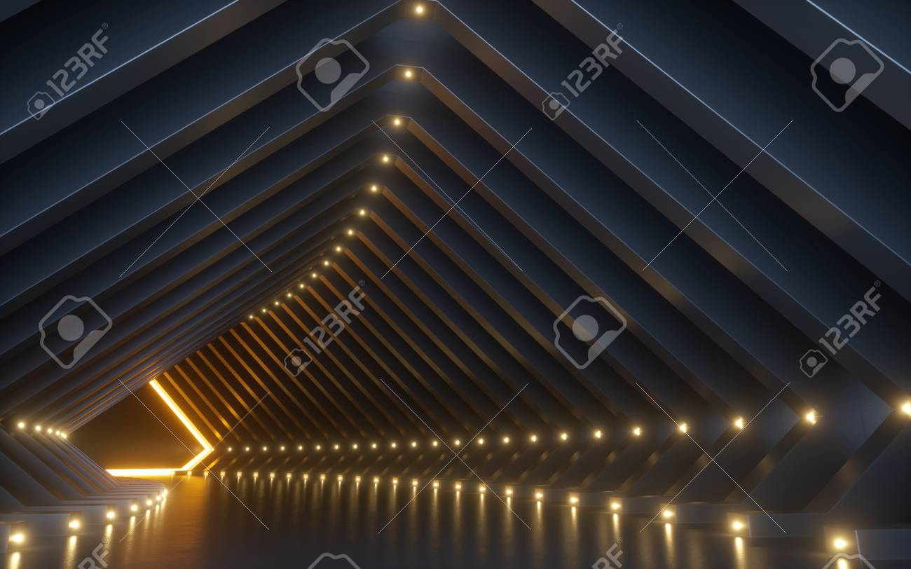 3d render, abstract background, corridor, tunnel, virtual reality space, yellow neon lights, fashion podium, club interior, empty warehouse, floor reflection - 120608121