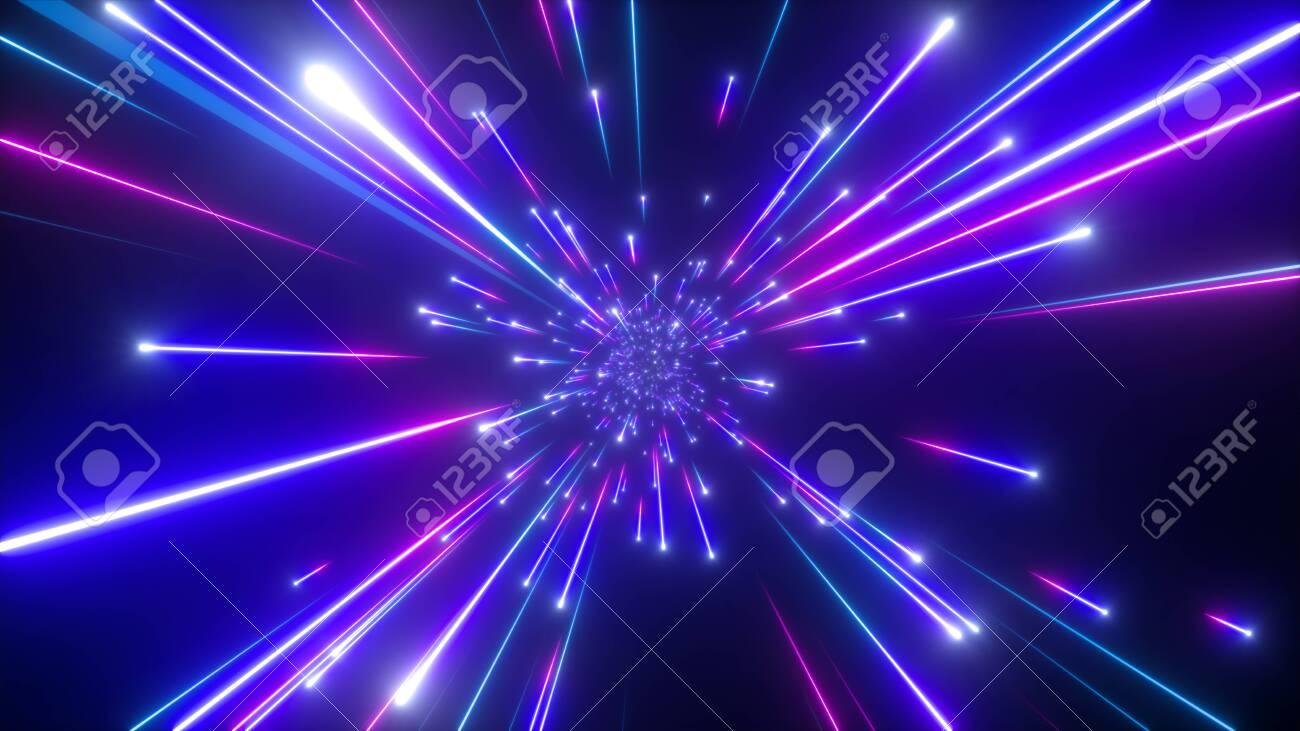 3d render, big bang, galaxy, abstract cosmic background, celestial, beauty of universe, speed of light, fireworks, neon glow, stars, cosmos, ultraviolet infrared light, outer space - 120711485