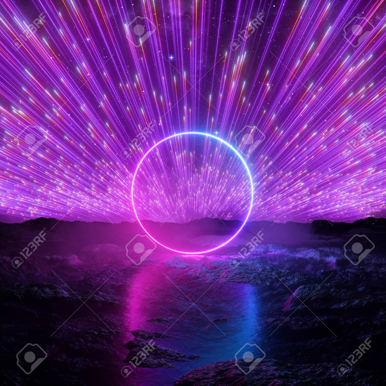 3d Render Abstract Futuristic Neon Background Pink Violet Fireworks