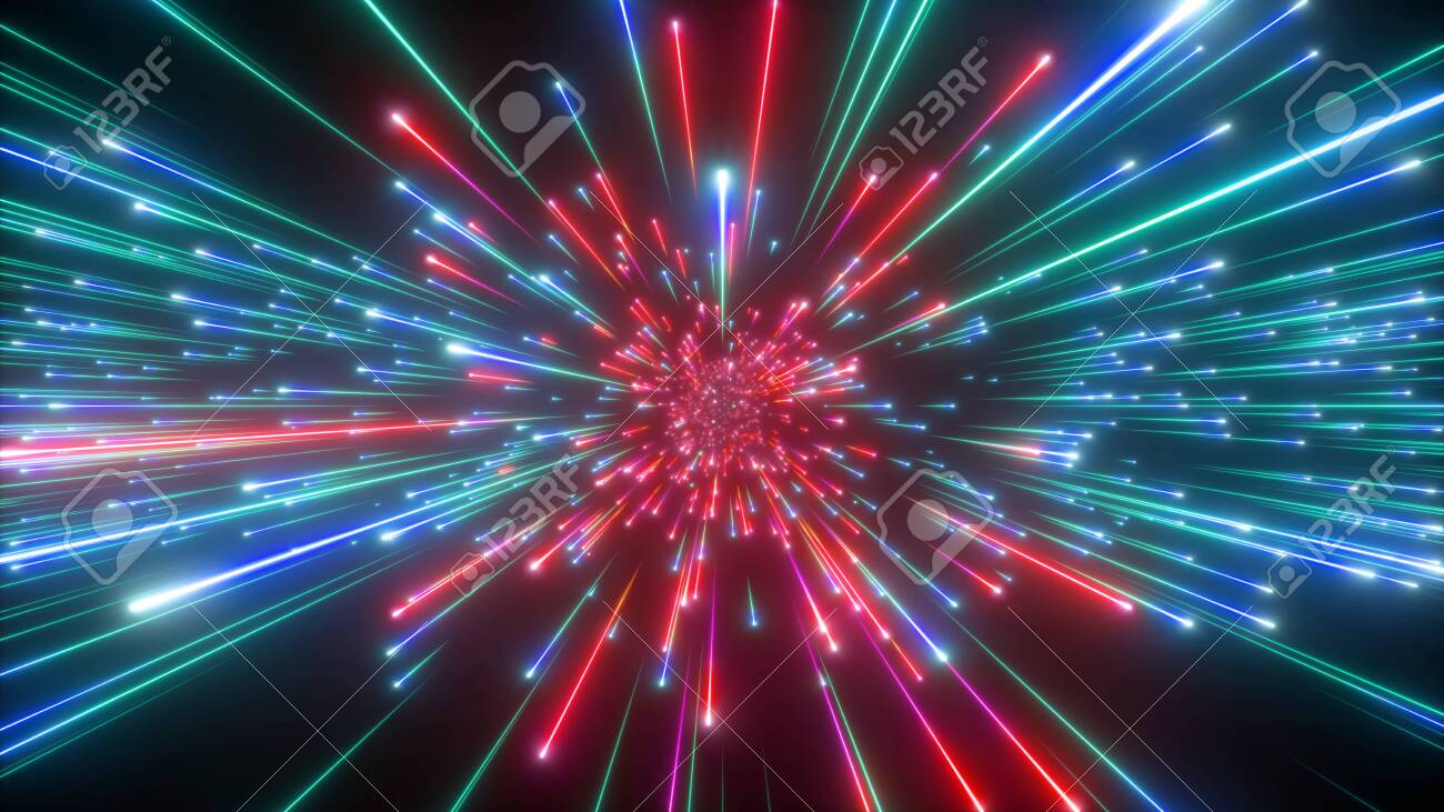 3d render, big bang, galaxy expanding, abstract cosmic background, celestial, beauty of universe, speed of light, red green fireworks, neon glow, stars, cosmos, ultraviolet infrared light, outer space - 123692356