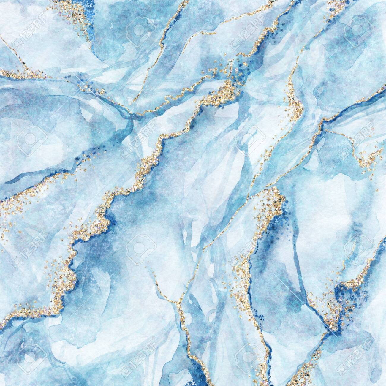 Abstract Background White Blue Marble With Gold Glitter Veins Stock Photo Picture And Royalty Free Image Image 128409653