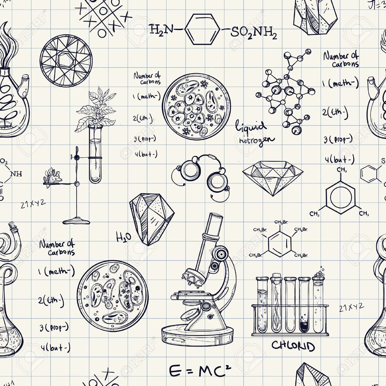 Old science and chemistry laboratory sketches on school board ...