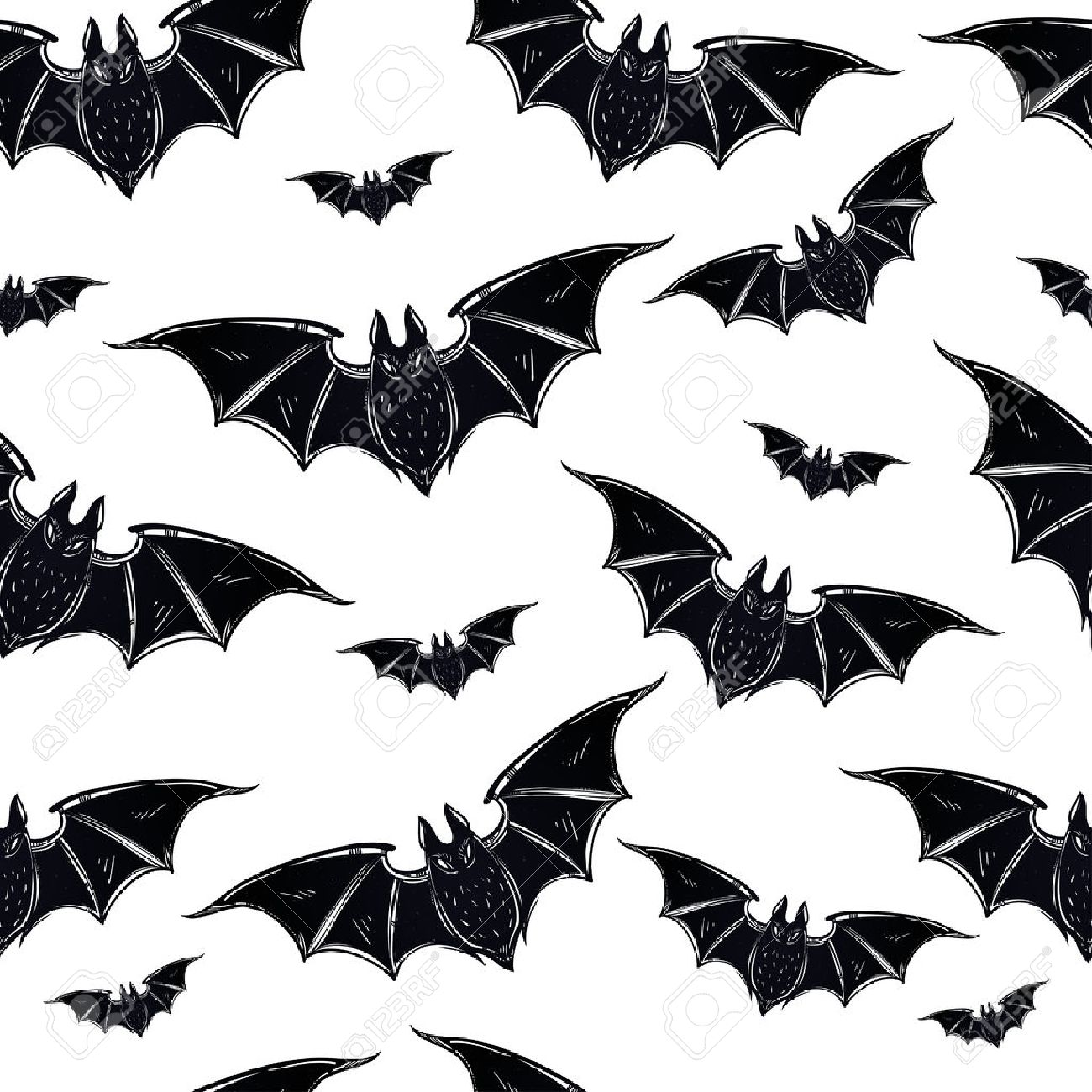 seamless halloween pattern halloween bats hand drawn holiday