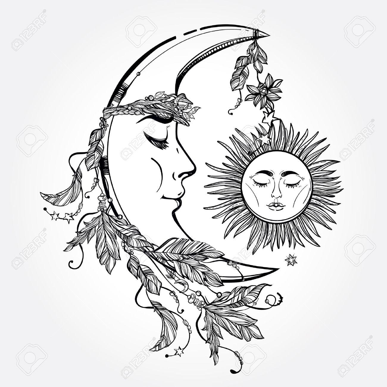 Hand drawn crescent moon with feathers and in the crown of leaves and sticks. Sleeping sun next to it. Isolated Vector illustration. Invitation element. Tattoo, astrology, alchemy, magic symbol. Stock Vector - 46342446
