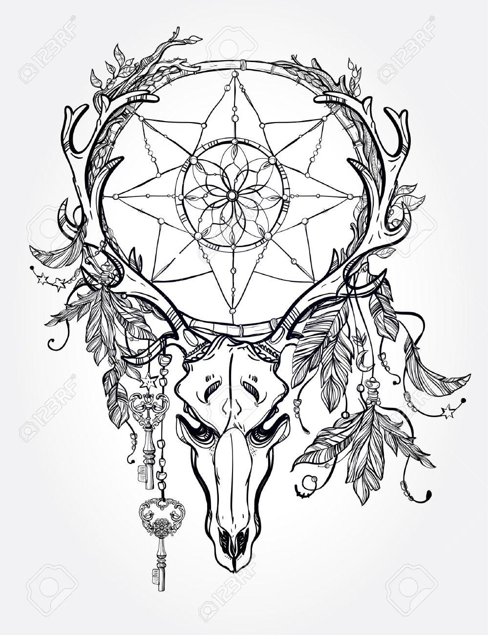 beautiful skull tattoo art vintage deer bull elk horns