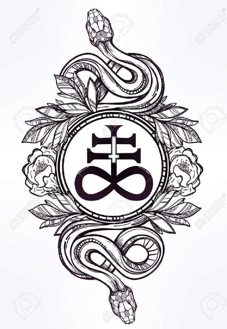 Hand,drawn art du tatouage vintage. Symbole Vintage, serpents très  détaillées dessinés à