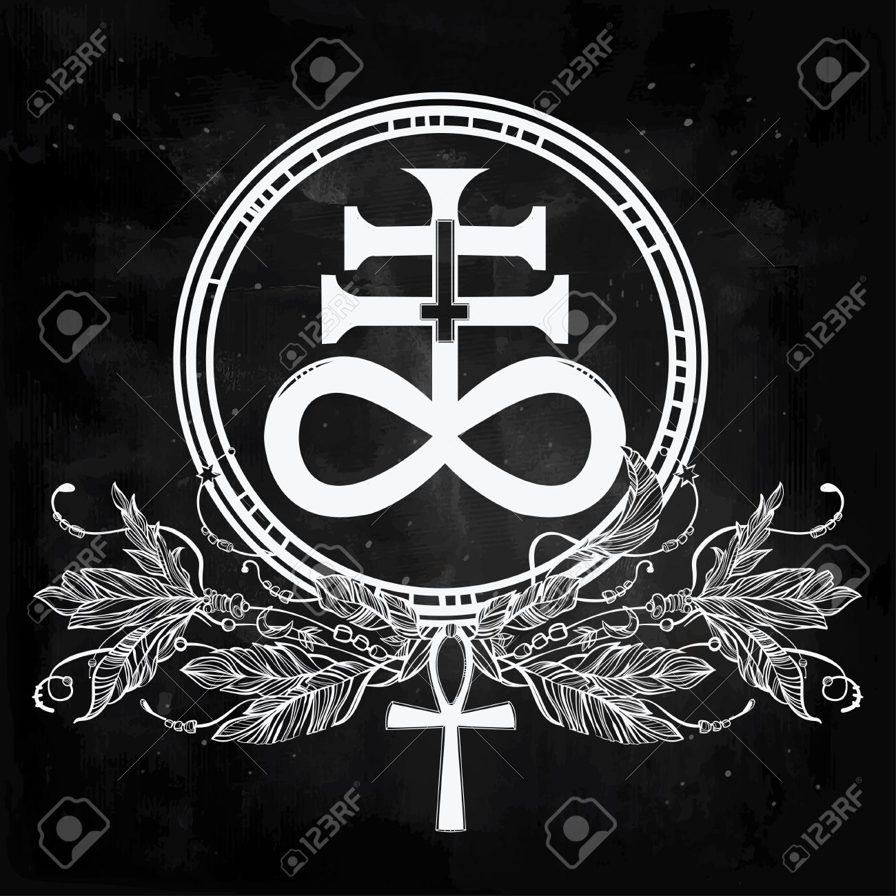 Hand drawn vintage tattoo art vector illustration the satanic vector illustration the satanic cross also known as biocorpaavc