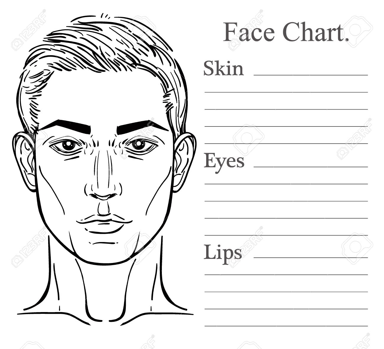 Face chart make up artist blank vector illustration handsome face chart make up artist blank vector illustration handsome mans head template isolated on pronofoot35fo Gallery