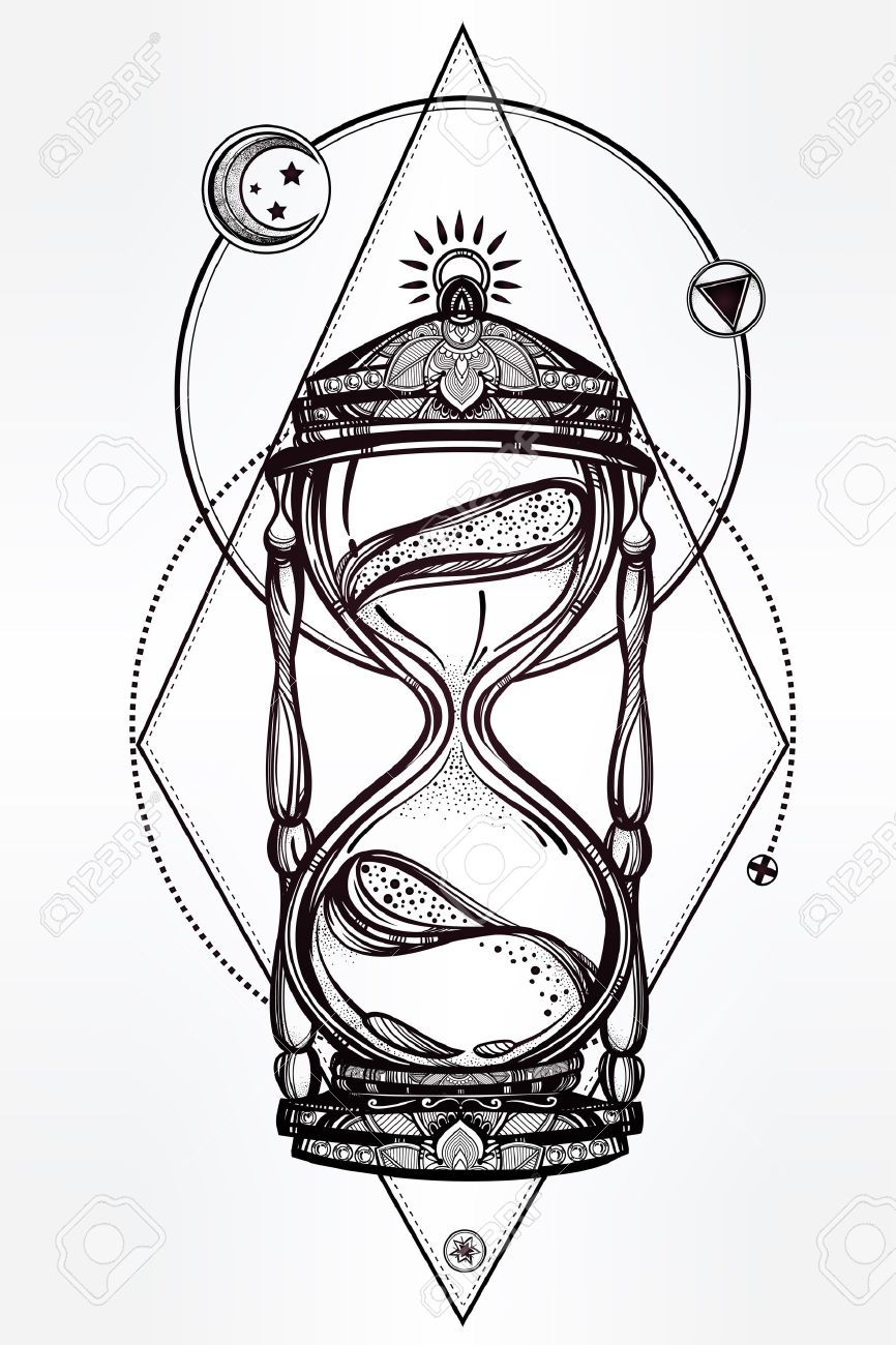 Sanduhr gezeichnet  Hand Gezeichnet Romantische Schöne Zeichnung Einer Sanduhr. Vektor ...