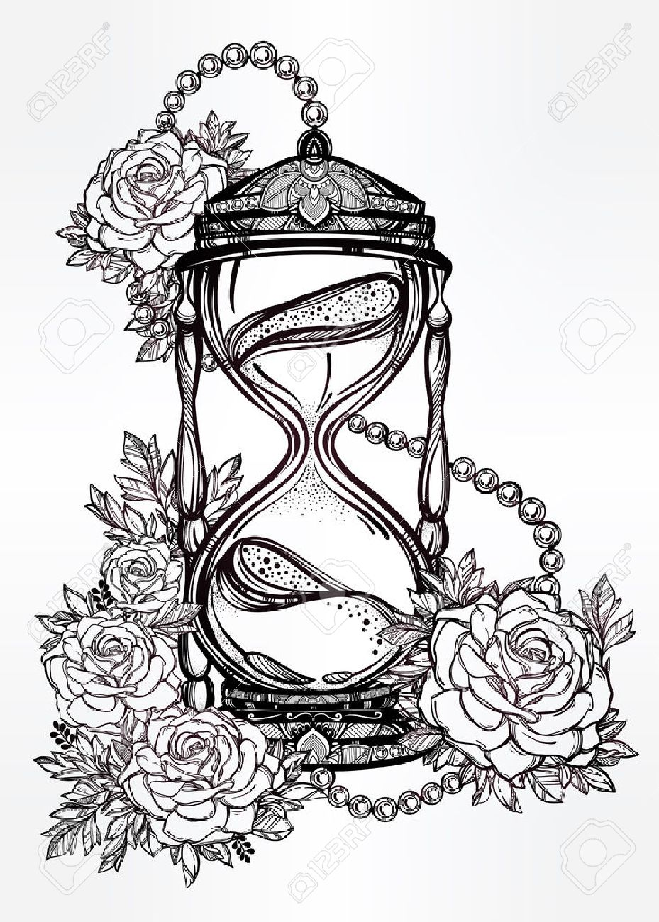 Hand drawn romantic beautiful drawing of a hourglass with roses. Vector illustration isolated. Tattoo design, mystic time symbol for your use. Stock Vector - 48644980