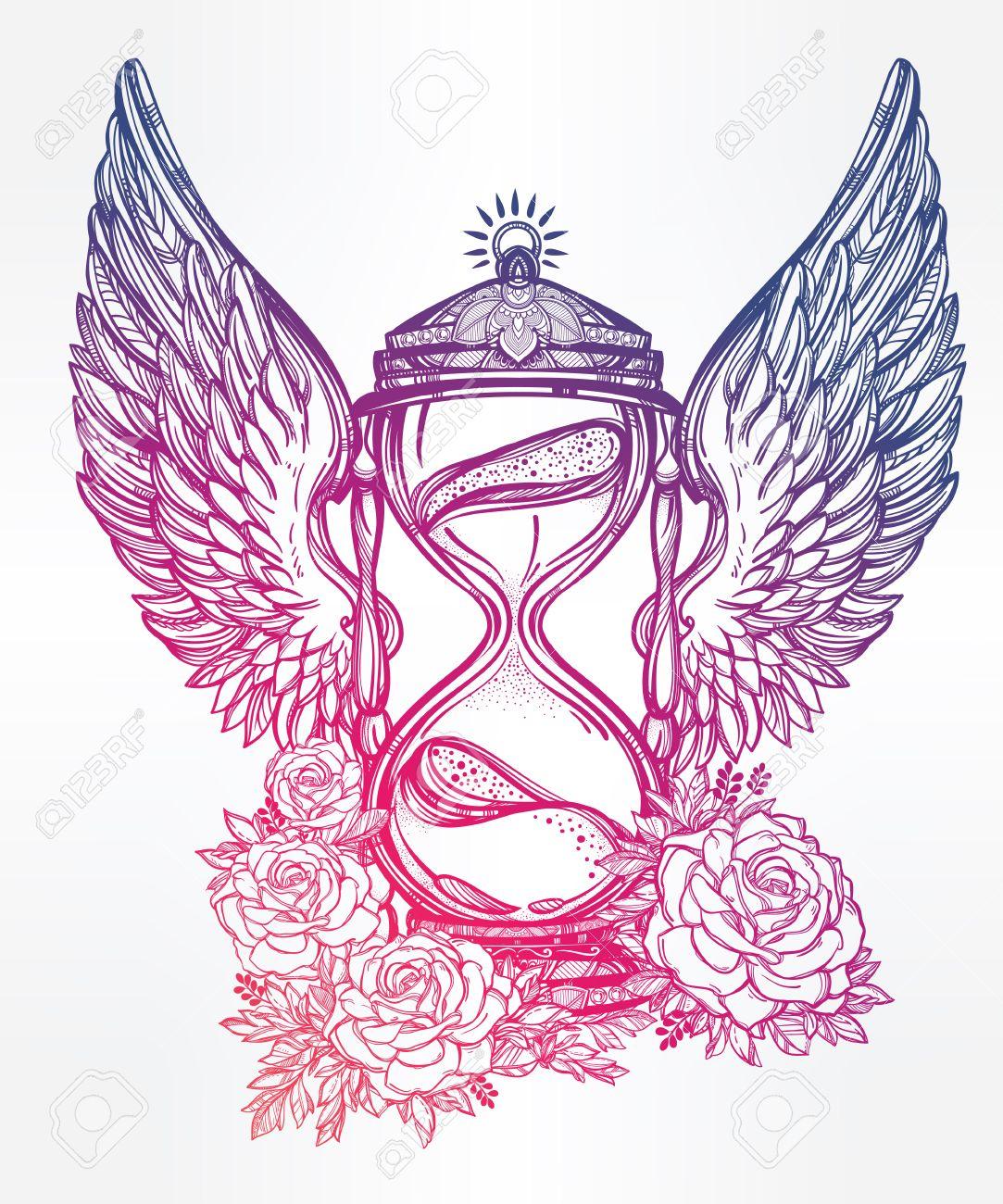 Sanduhr gezeichnet tattoo  Hand Gezeichnet Romantische Schöne Zeichnung Einer Sanduhr. Vektor ...