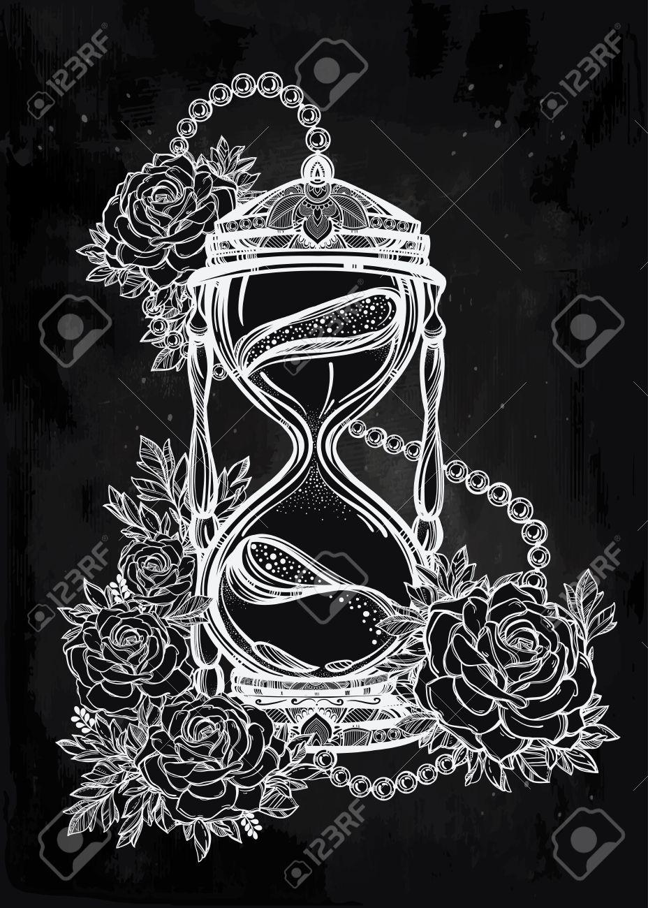 Sanduhr gezeichnet tattoo  Hand Gezeichnet Romantische Schöne Zeichnung Einer Sanduhr Mit ...