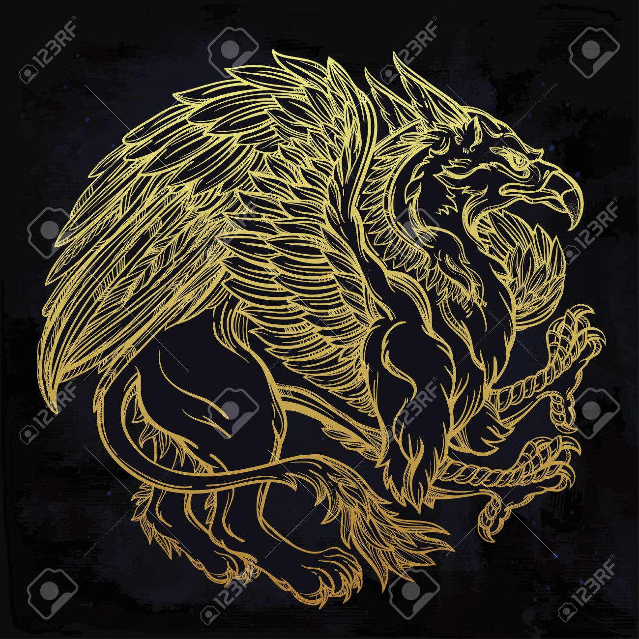 hand drawn vintage griffin mythological magic winged beast