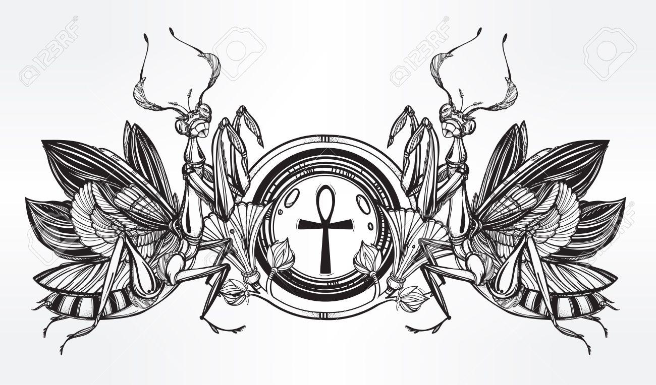 Mantis beetle with ankh symbol of power and violence vintage mantis beetle with ankh symbol of power and violence vintage style tattoo vector art buycottarizona Choice Image