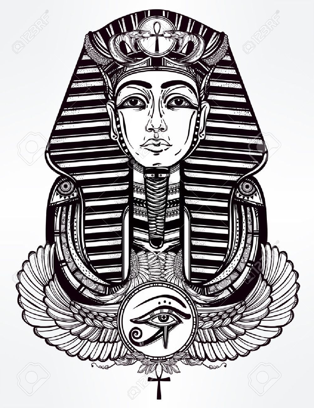 Hand-drawn vintage tattoo art vector illustration of pharaoh with winged Ankh. Stock Vector - 52543379