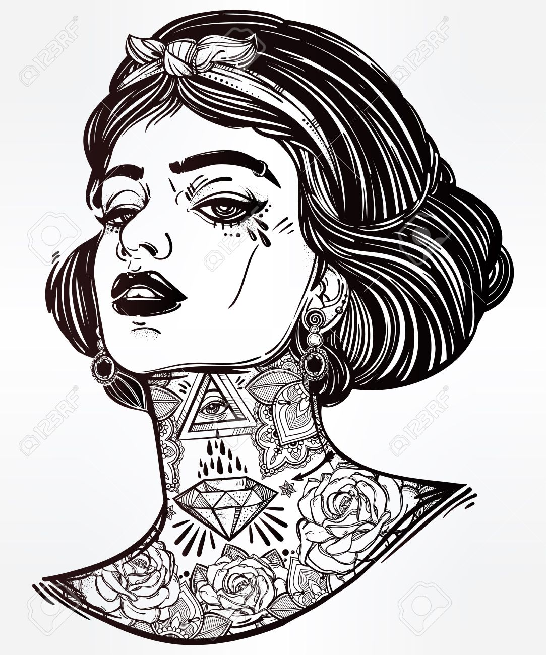 Coloring book for girl - Adult Coloring Book Page With The Face Of Young Tattooed Girl Coloring Book Page For